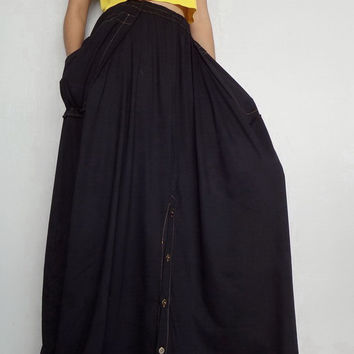Women Convertible Long Skirt Or Pants, Casual Wide Legs,Black In Cotton Blend  (Skirt WS-5).