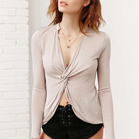 V-Neck Wrap Front Asymmetrical Long sleeve Shirt