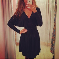 V Neck Long Sleeve Knot Dress