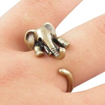 Vintage Boho Chic Mid Finger Elephant Ring Cute Couple Opened Animal Wedding Rings Fine Jewelry