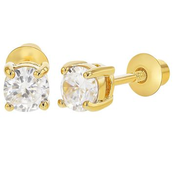 18k Gold Plated April Clear CZ Screw Back Earrings 3mm for Baby Girls