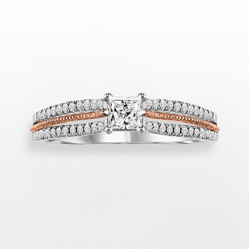 Cherish Always Princess-Cut Diamond Engagement Ring in 10k Gold Two Tone (1/2 ct. T.W.) (White)