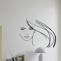 Wall Decal Vinyl Sticker Beauty Girl Hair Salon Spa Decor Sb487