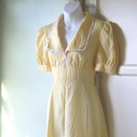 1940s 1950s Vintage Yellow Gingham Dress - Rare, Handmade Farmer's Daughter 1940s Cotton Dress - Medium Checked Yellow Country Girl Dress