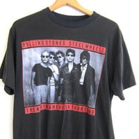 black 1989 Vintage Rolling Stones tshirt / Concert Tour tshirt / washed out / faded black cotton Steel Wheels shirt