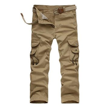 Casual Loose Long Trousers Cotton Multi Pockets Army Military Cargo Pants For Men