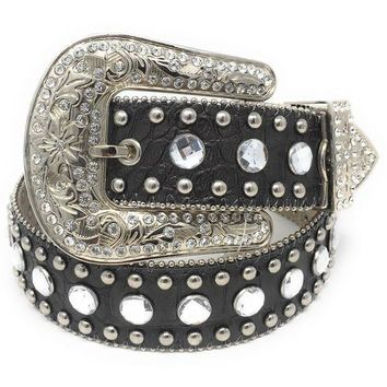 MDIGYW3 Blazin Roxx Black Croc Leather & Clear Rhinestone Belt