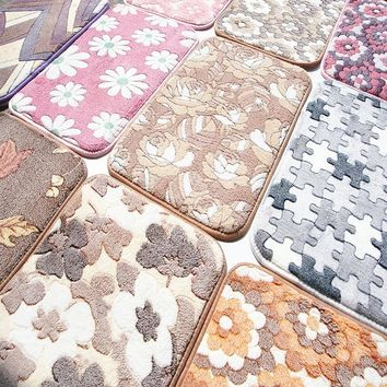 WINLIFE 40*60cm And 50*80cm Bedroom Living Room Rugs And Carpets Coral Velvet Non-Slip Kitchen Mat/Bath Mat Bedside Area Rugs