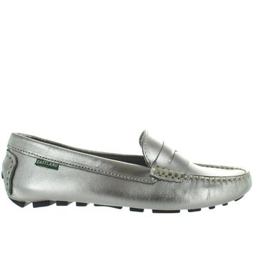 Eastland Patricia - Silver Metallic Leather Penny Loafer Driving Moc