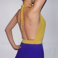 Mustard yellow backless sexy top / 90s sexy night club top / backless halter top Retro club wear tank top