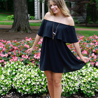 Over And Over Again Off Shoulder Dress (Black)