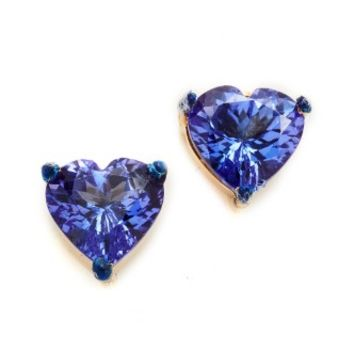Tanzanite Heart Shaped Studs