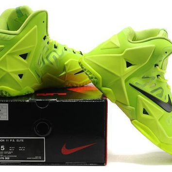 Lebron 11 Xi P.s Elite Fluorescent Green/black Sneaker Shoe