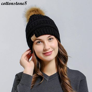 Winter Hat Women Men Cap 2017 Warm Faux Hair Pom Poms Ball Bobble Hat Lined Crochet Knitted Ski Cap Women' Hats Skullies Beanies