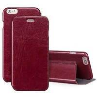 iVAPO iPhone 6 plus 5.5inch Case, [Classic Vintage] Folio Case, [Business Style] Premium [Stand Function Design] Flip Case For iPhone 6 plus 5.5inch (MM528) (Wine Red)