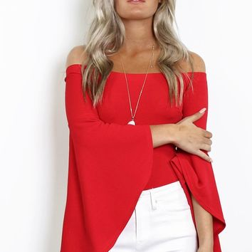 To The Top Red Off The Shoulder Bell Sleeve Bodysuit