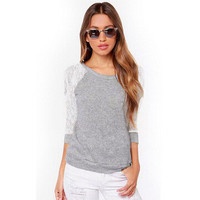 Fashion Women Lace Slim Long Sleeve Round Necked T-Shirt _ 12703