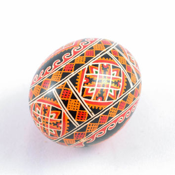 Handmade ethnic Easter egg with acrylic painting ornaments interior decor ideas