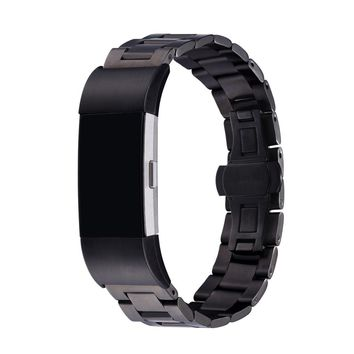 Black Band For Fitbit Charge 2 Metal Replacement Bands Stainless Steel Adjustable Fitbit Charge 2 Bands Bracelet FBC2827H