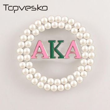 Big Round Alpha Kappa Alpha Pearl Brooch Pin