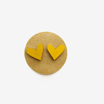 Large Mustard Heart Earrings, Heart Jewelry, Wooden Earrings, Mustard Earrings, Yellow Hearts, Heart Studs, Nickel-Free Studs, Fall Jewelry