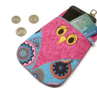 Pink owl purse, phone wallet, owl gadget case, owl zipper pouch, owl coin purse, owl change purse, owl shaped bag, owl lover gift