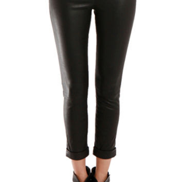 J Brand Anja Leather Cuffed Crop Pant