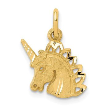 14k Yellow Gold Solid Small Unicorn Head Small 16mm Charm Pendant