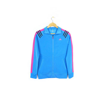 ADIDAS pink & blue track jacket / new / big score / neon / womens