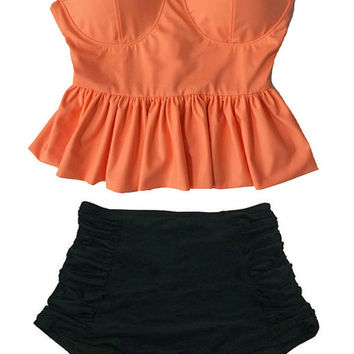 Old Rose Orange Long Peplum Top and Black Rouched Vintage Retro High Waist Waisted Swimsuit Bikini Bikinis Swim Bathing suit Swim wear M L