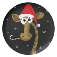 Christmas giraffe dinner plate