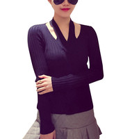 Solid Color Knitted Halter Long Sleeve Sweater