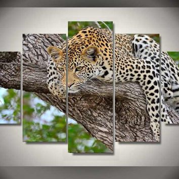 Resting Cheetah 5-Piece Wall Art Canvas