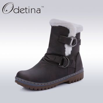 Odetina Brand Buckle Strap Women Boots with Fur Lined Ankle Boots for Women Fur Shaft Snow Boots Flat Warm Women Winter Shoes