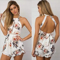 Fashion Halter Sleeveless Backless Multicolor Flower Print Shorts Romper Jumpsuit