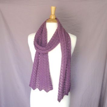 Luxury Lace Scarf, Plum Purple, Alpaca & Silk, Hand Knit, Long Wrap Scarf, Gift for Her