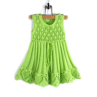 Knitted Baby Dress - Light Green, 12 - 18 months