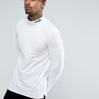 Ellesse Long Sleeve Roll Neck With Logo In White at asos.com