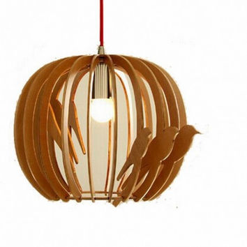 Creative nordic countryside fashion environmental bird cage wood pendant lamp light