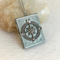 Compass Book Locket, vintage silver rectangle engraved antique pendant picture travel birthday anniversary romantic gift for her