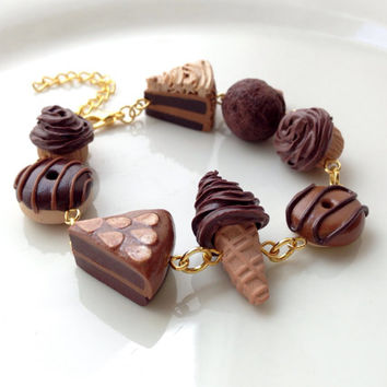 Chocolate Bracelet, Polymer Clay Miniature Food Jewelry [jewellery] Cake Macaron Icecream Cupcake Gift Idea Gifts for Her