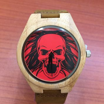 Bamboo Wood With Red Skull Design