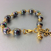 Rosary Prayer Bracelet, Black Peacock South Sea Shell Pearls, Celtic Style Cross with Gold Colored Metal