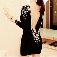 Black Long Sleeve Backless Dress with Pearls