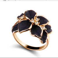 New Arrival Jewelry Gift Stylish Shiny Vintage Crystal Korean Floral Ring [6586077063]