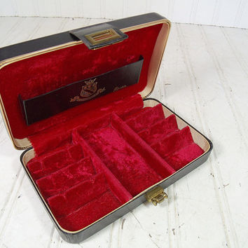 Vintage Shields Black Leatherette Travel Jewelry Box with Gold Tooling & Trim - Retro Dresser Valet with Red Velvet Interior - Mad Men Case
