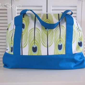Peacock Turquoise Lime White Weekender - Overnight Bag - Diaper Bag - Beach Bag