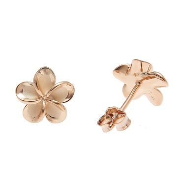 925 Silver Pink Gold Hawaiian Plumeria Flower No CZ Stone Post Stud Earrings