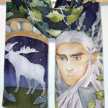 Thranduil scarf - Hand painted scarf Elf King - Hobbit scarf - silk scarf - green blue scarf - fantasy scarf