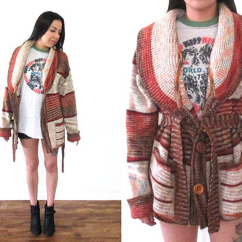 Vintage 70s SPACE DYE Striped Belted Red Multi Open Cardigan Sweater // Hippie Gypsy Boho Hipster // XS Extra Small / Small / Medium / Large